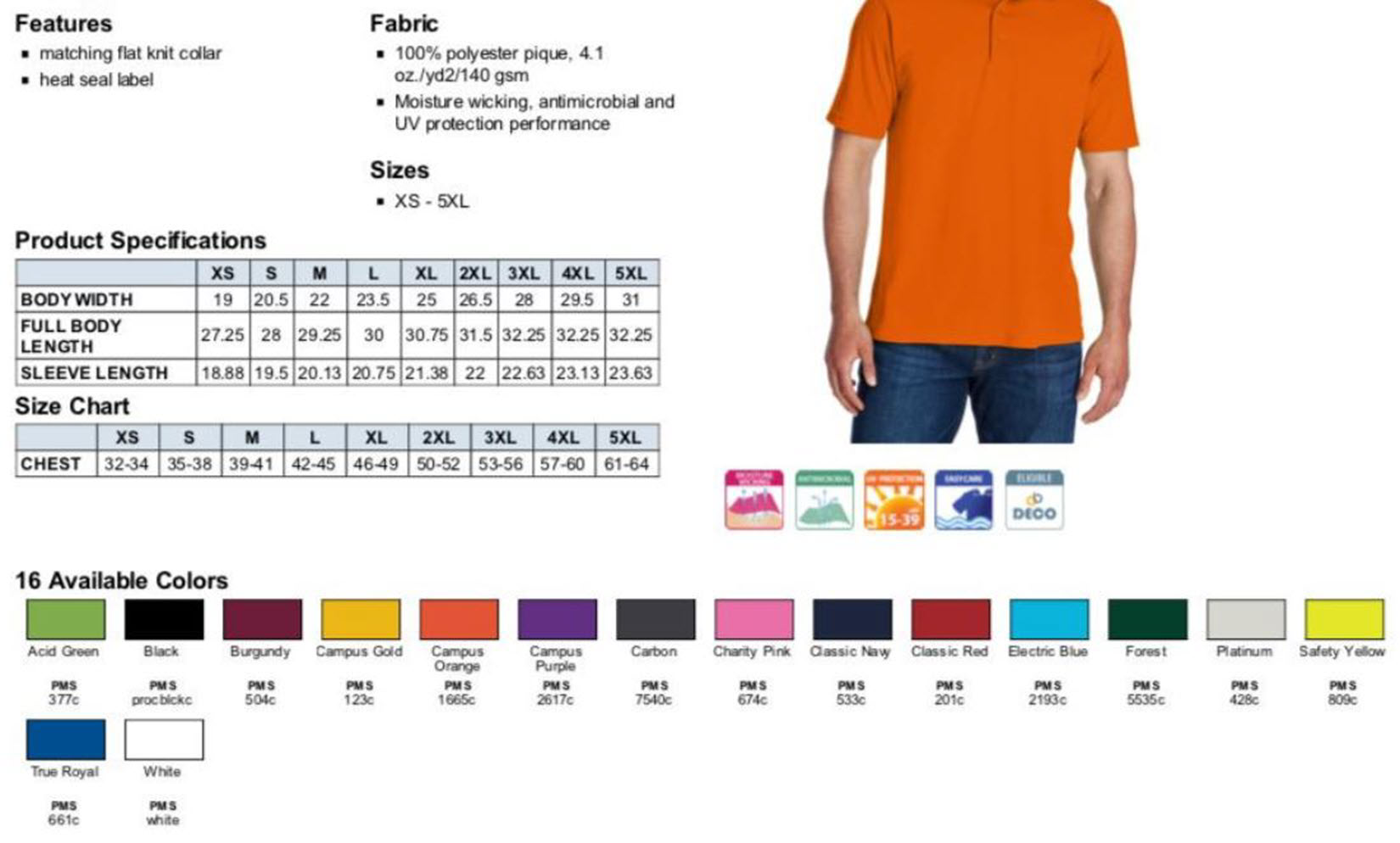 Shirt Sizes and Colors
